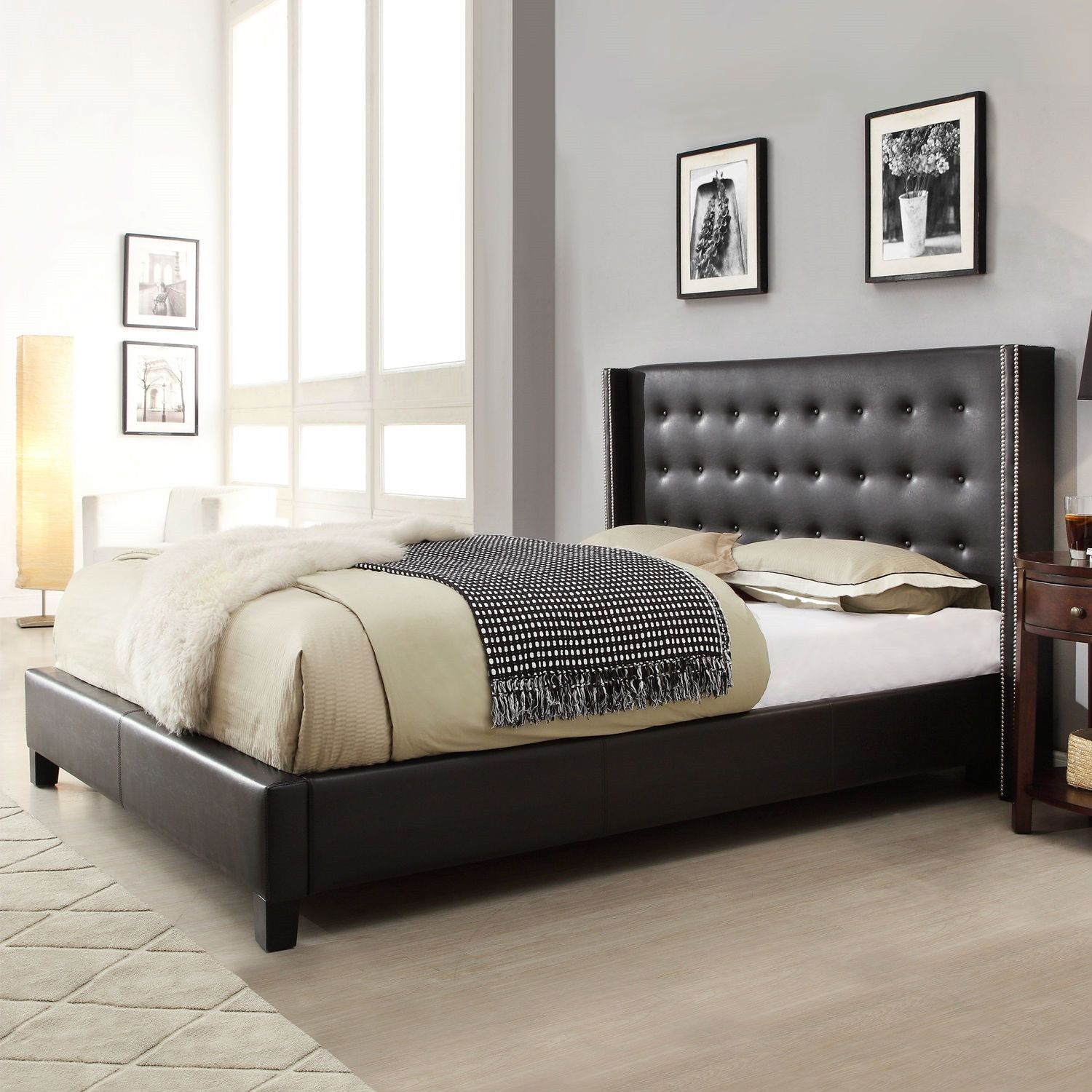 Queen size Black Faux Leather Upholstered Bed with