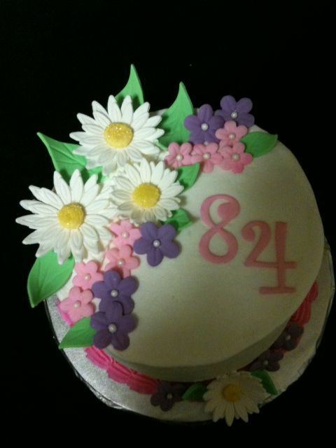 84th Birthday Cake With Flowers With Images Birthday Cake With