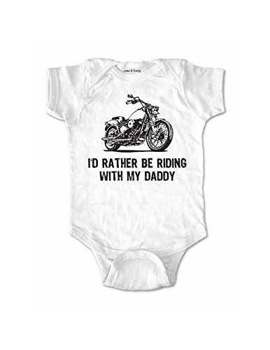 Id Rather Be Riding With My Daddy Motorcycle Design Baby One Piece