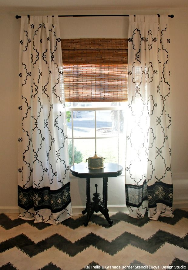 How To Stencil Tutorial Diy Curtains With Burlap Border