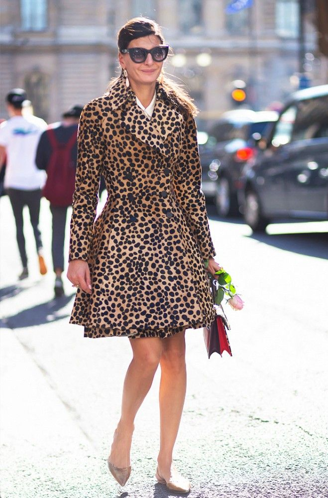 47bbbc4b16a87 Stand out like Giovanna Battaglia in a statement coat like this  leopard-print one.