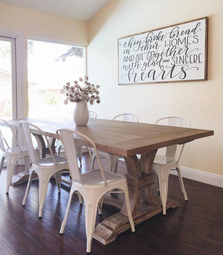 Farmhouse table with metal chairs from homespun signs for Wall designs for dining area