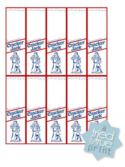 image about Jack in the Box Printable Application titled Printable Cracker Jack Labels - excellent for a baseball occasion