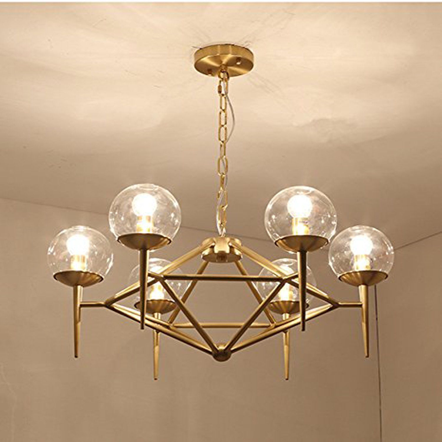 Modern Round Glass Ball Chandelier Creative Metal Pendant Lighting Gold Industry Ceiling Ligh Pendant Lighting Dining Room Gold Pendant Lighting Led Chandelier