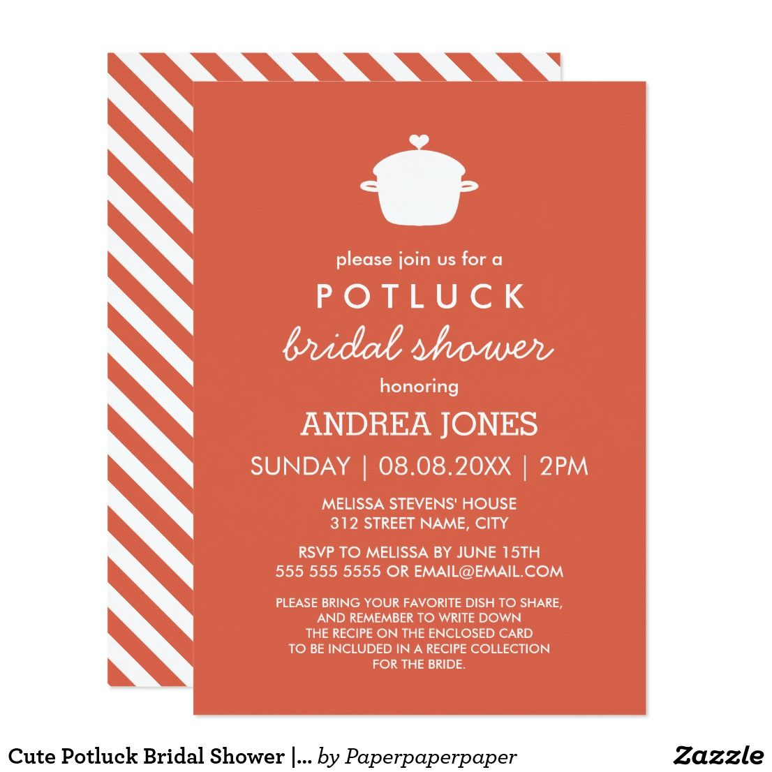 Cute Potluck Bridal Shower   Orange White Invitation   { Wedding ...