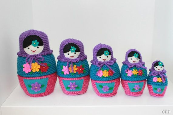 Amigurumi Russian Doll Pattern : Russian matryoshka babushka nesting dolls crochet pattern dolls