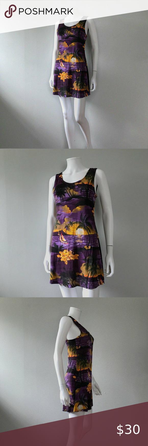 Vintage 90s Mini Dress Hawaiian Tropical Sunset In 2020 Clothes Design Printed Mini Dress Vintage Dresses
