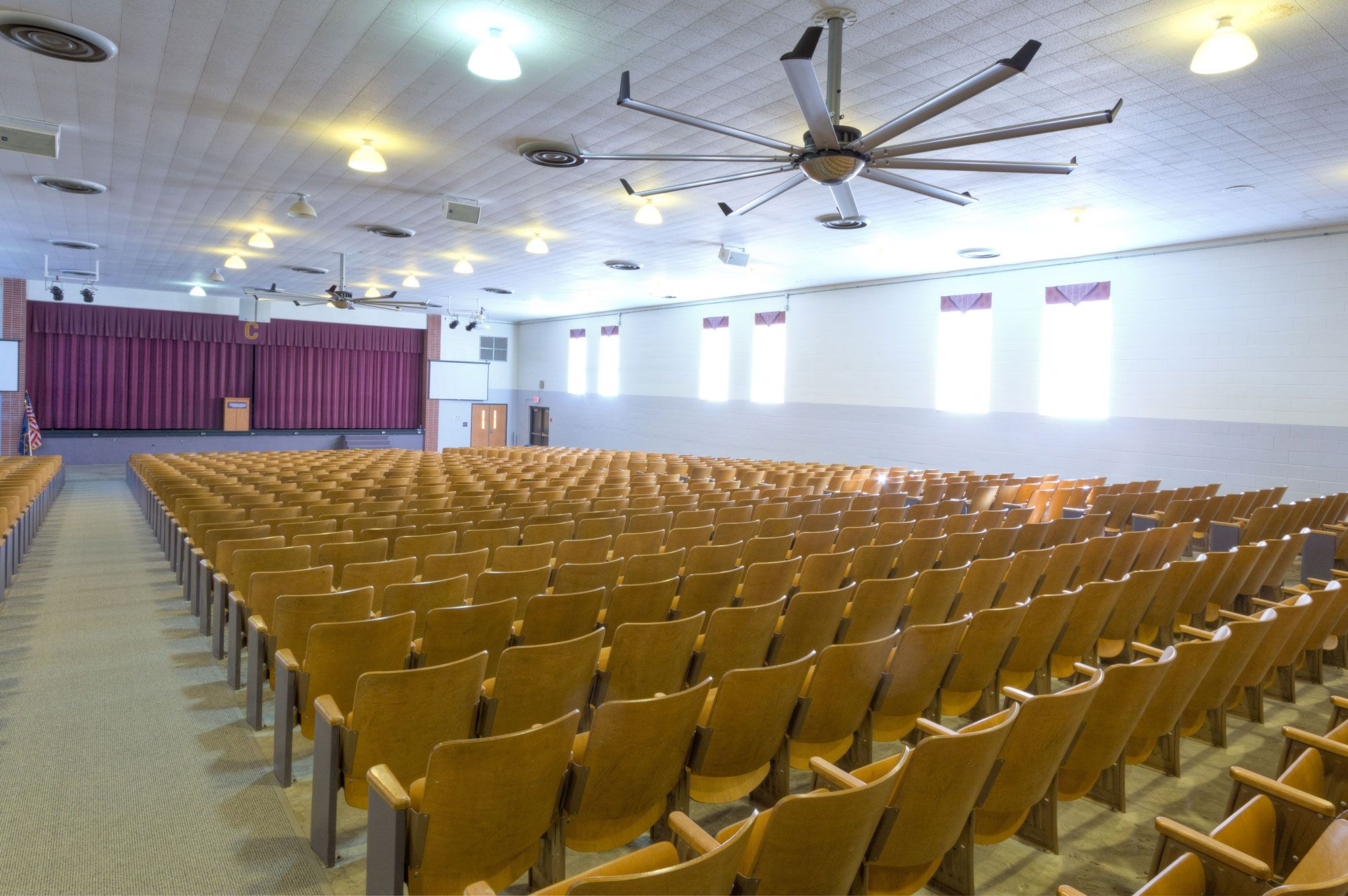 Large Low Speed Ceiling Fans in K12 School Auditoriums