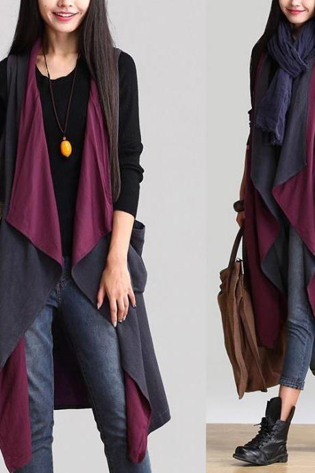 2293b691a92 Asymmetric Cotton Linen Cardigan Long Cloak Vest Plus Size Coat Jacket For  Women Spring Autumn Two Wear Ways WJ348