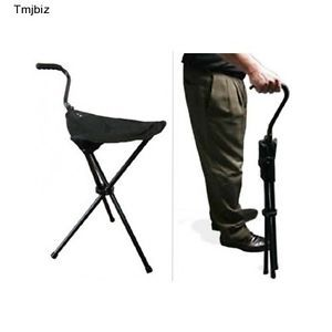 Portable Walking Chair Cane Stool Folding Seat Aluminum