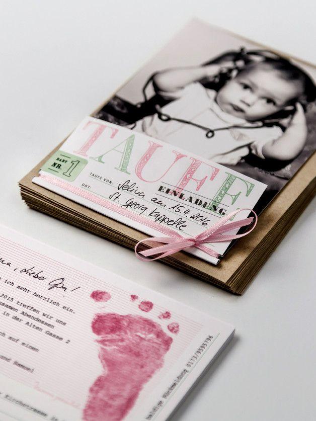 Einladungen   15er Set Taufe Rosa/grün + 2x Nachfüller   Ein Designerstück  Von