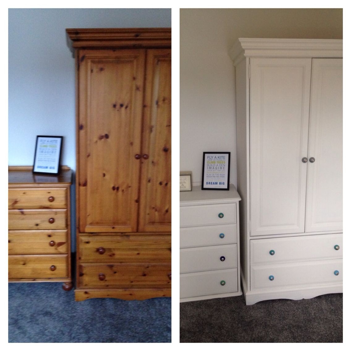 Genial Pine Wardrobe And Drawers Upcycled Using 2 Coats Of Wood Primer, 2 Coats Of  Dulux Emulsion In White Chiffon. Knobs Replaced With Funky Coloured Ones  From ...
