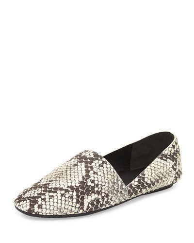 Bogart Python-Print Slip-On, Black/White