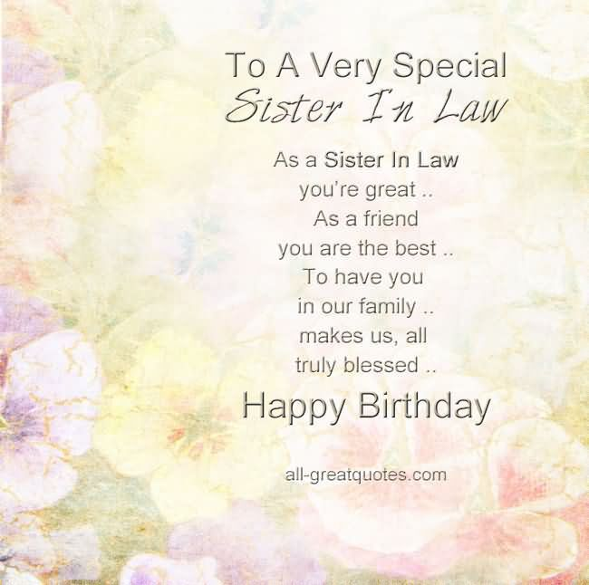 Happy Birthday To A Special Sister Quotes: To A Very Special Sister In Law, Happy Birthday