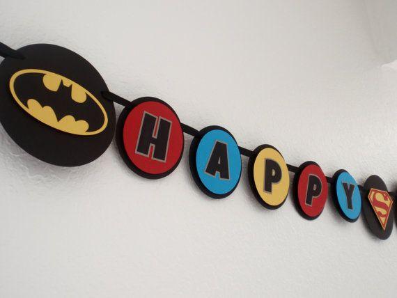 Superhero Birthday Banner Superhero Birthday by Entertainpaperie
