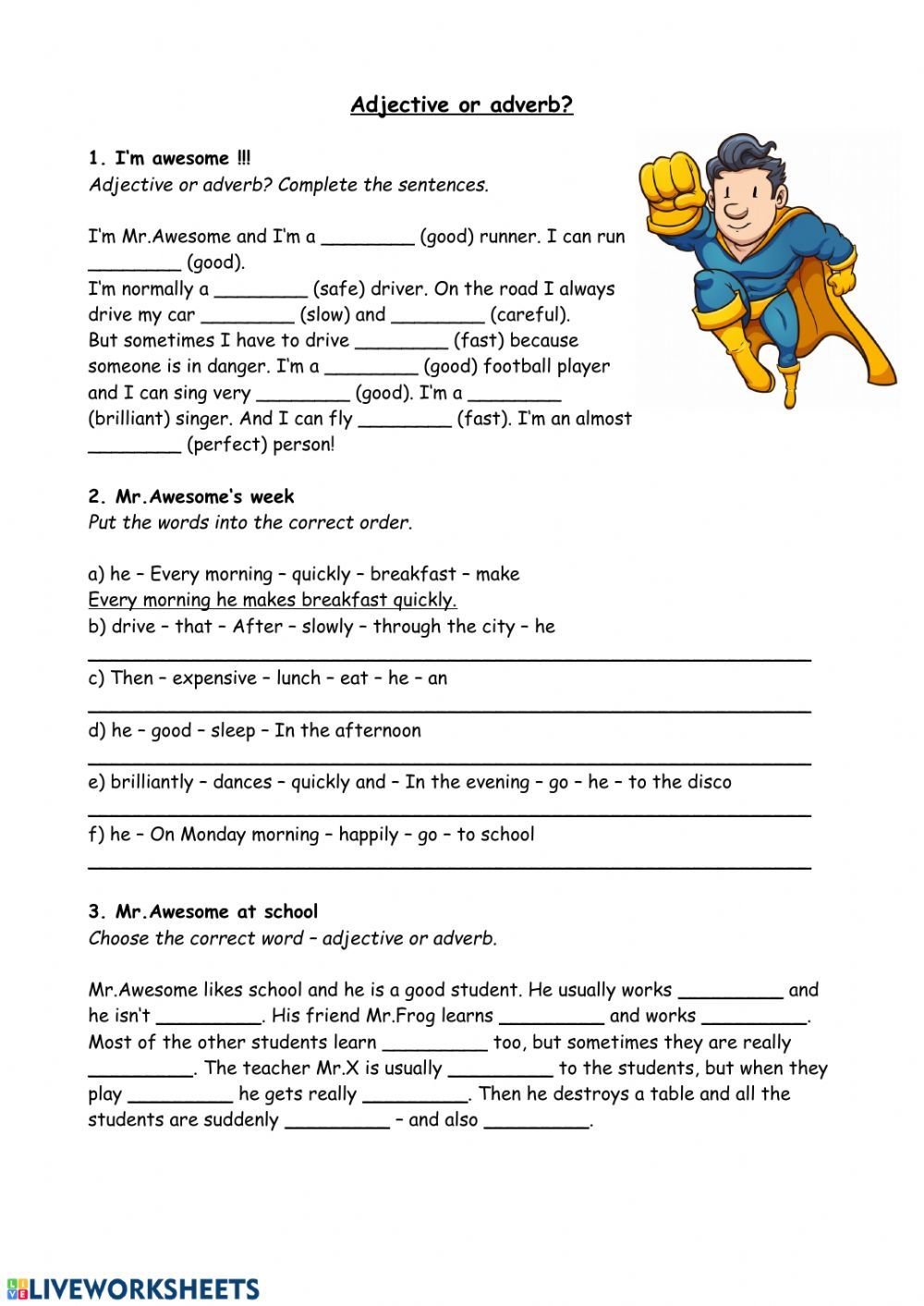 Adjective or adverb   Interactive worksheet   Adjectives, Adverbs ...