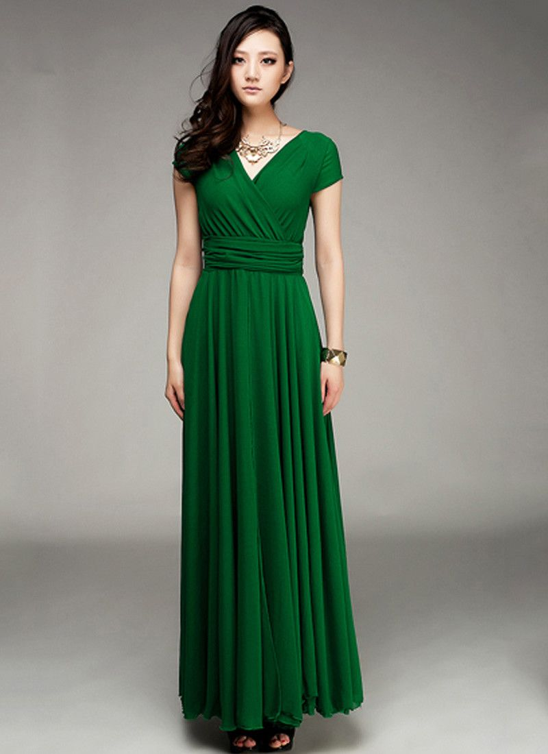 A Special Sale for June - 35% Off - Cap Sleeve Emerald Green Maxi ...
