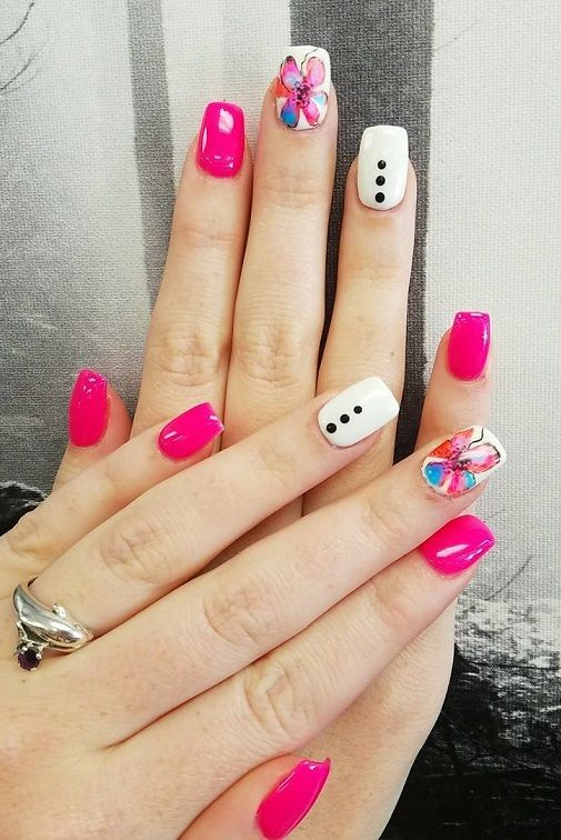 20 Pink Floral Acrylic Nail Designs 2018