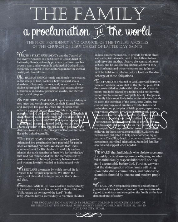 The Family - A Proclamation to the World 8X10 Printable
