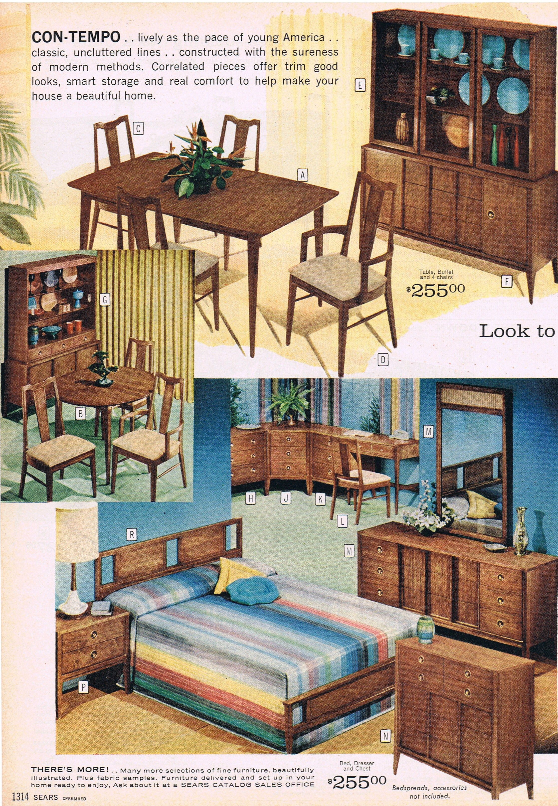 Con Tempo mid century modern furniture from Sears 1963   Guest house     Con Tempo mid century modern furniture from Sears 1963