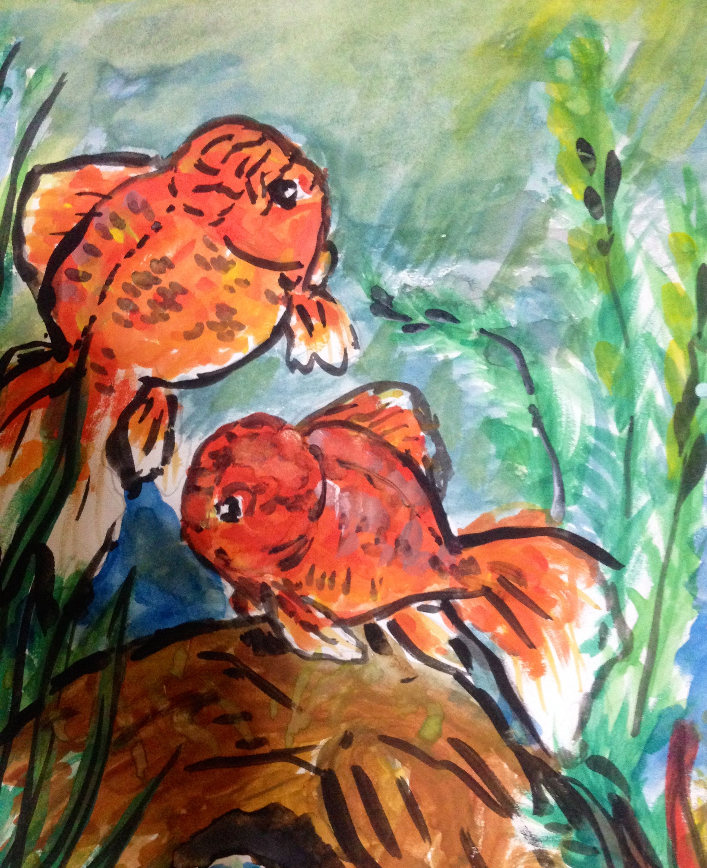 My gold fishes poster color painting | My Drawings | Pinterest ...