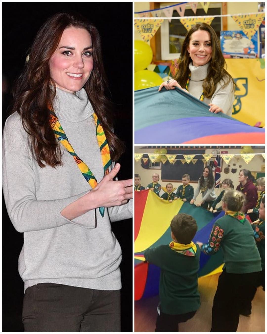 The Duchess of Cambridge has arrived at a special Cub Scout Pack meeting with Cubs from the Kings Lynn District, just a few miles from her Norfolk home, to celebrate 100 years of Cubs this evening. She joined in on a parachute game that builds teamwork and is now sitting down to ice some cupcakes!