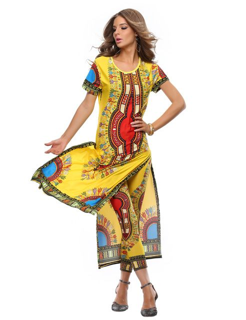 2015 Summer Wome Traditional African fashion With Side Split Long Dress And Women Traditional African fashion Leggings 2pcs Sets