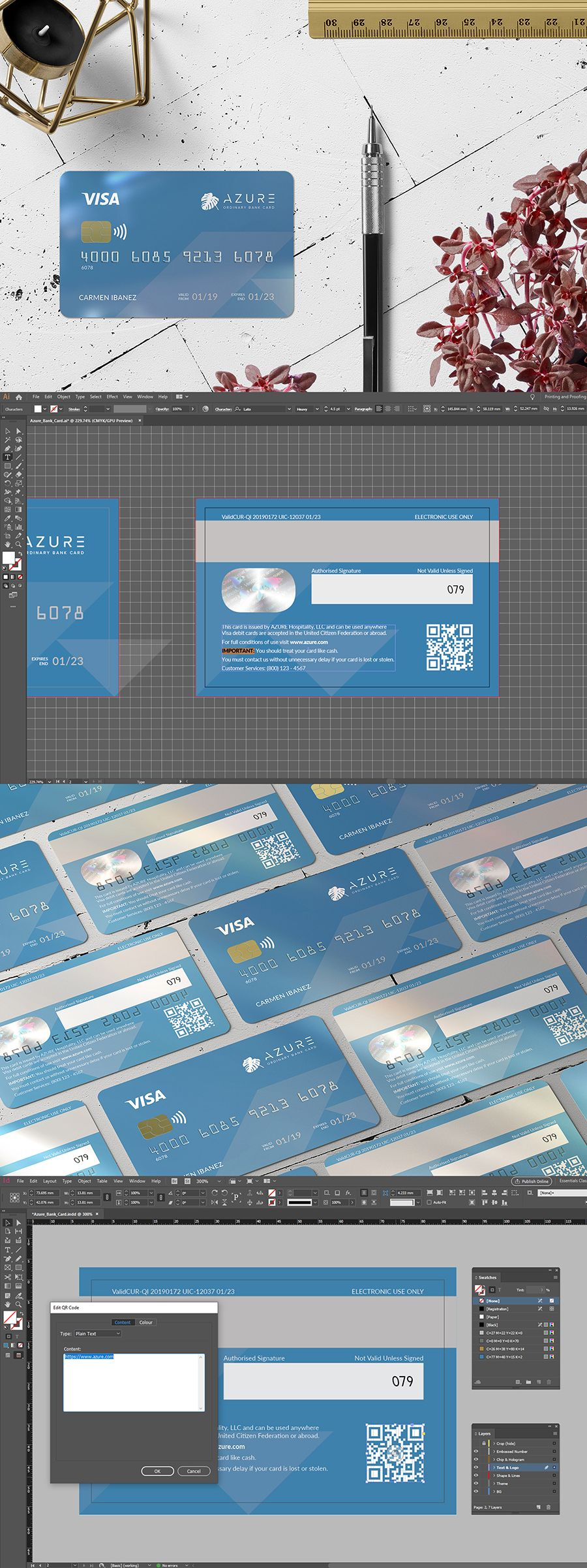 Azure bank card is an ordinary bank card template for