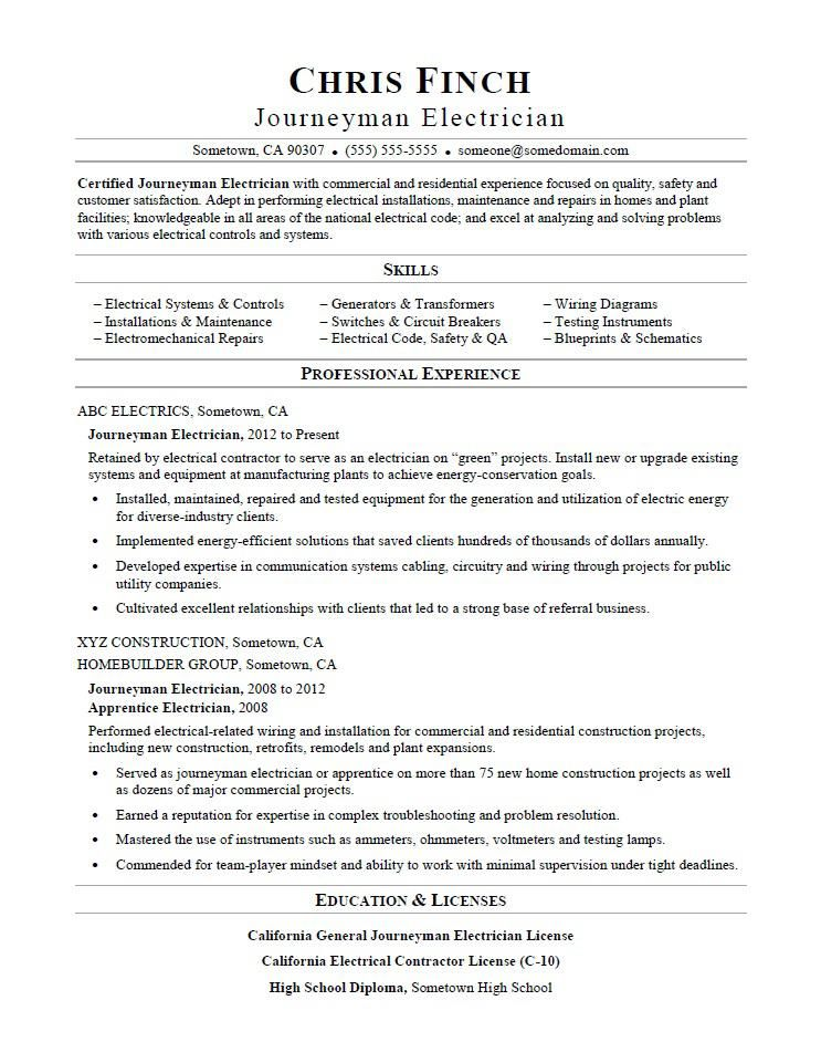 Resume Examples Electrician Pinterest Resume examples - General Contractor Resume Sample