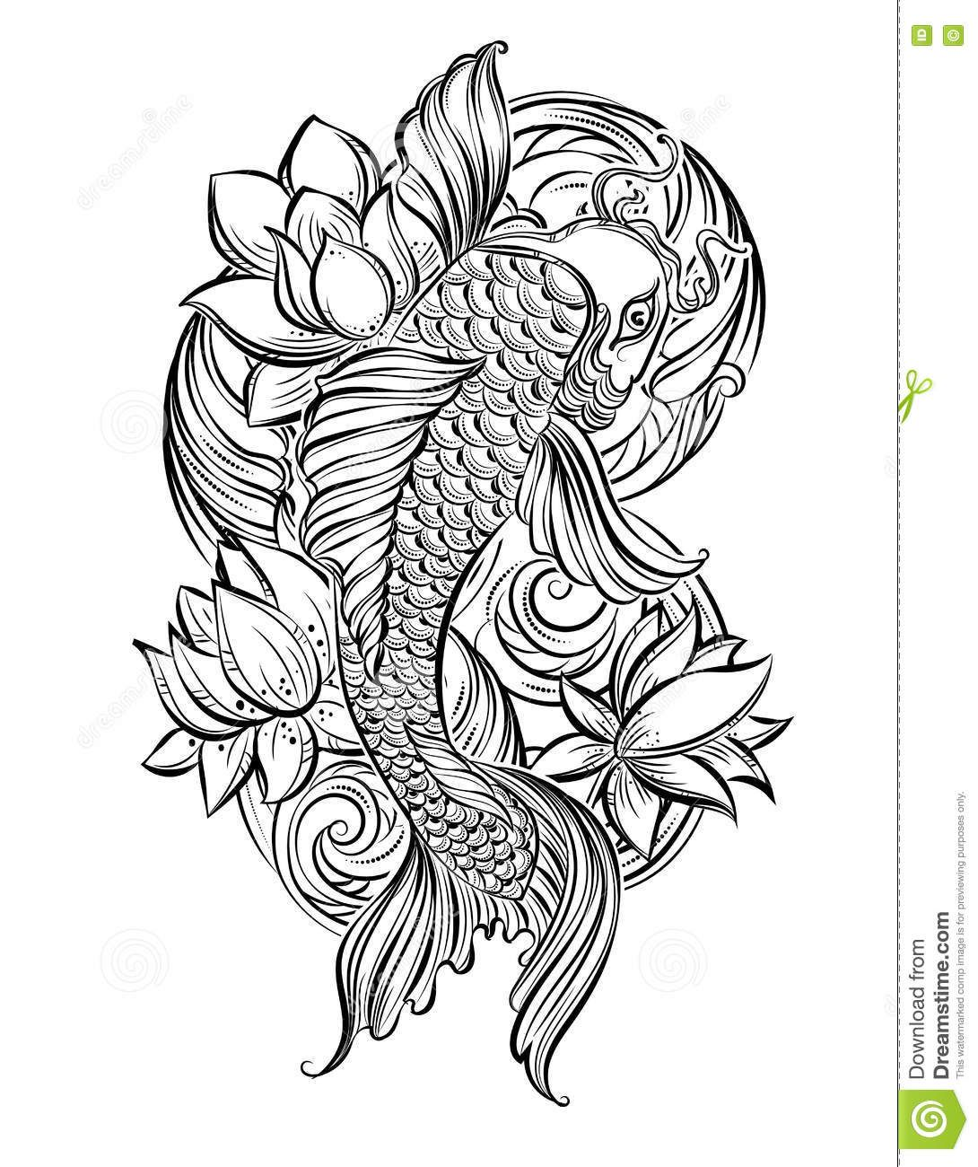 Koi fish tats pinterest tatting lotus flower tattoo designs hand drawn asian spiritual symbols koi carp with lotus and waves it can be used for tattoo and embossing or coloring mightylinksfo