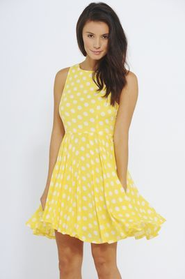 Yellow dress with white polka dots - The AX Paris Style
