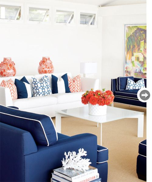 La Belle Vie Living Room Orange Coral Living Rooms Navy Living Rooms