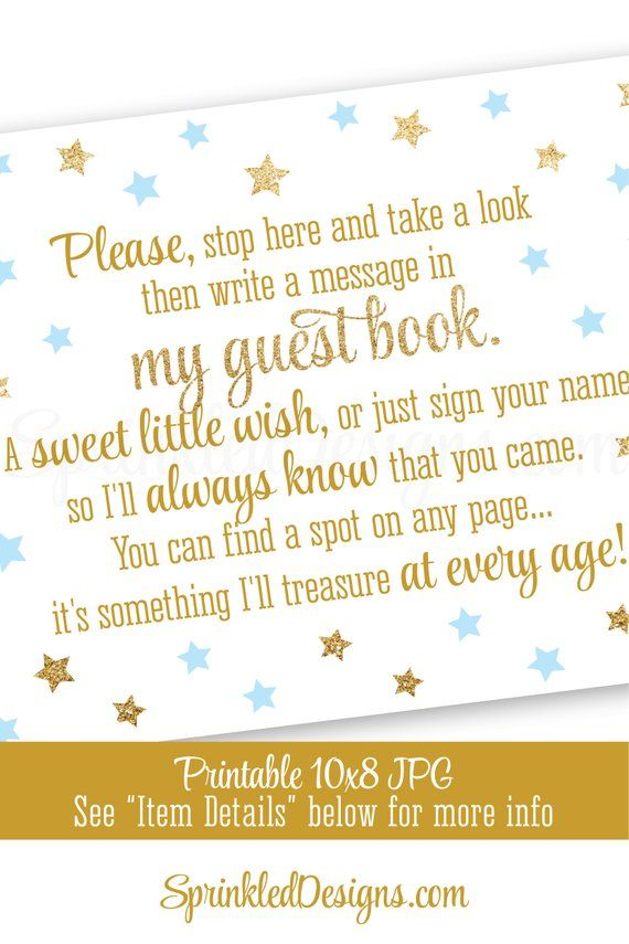 Twinkle Little Star Baby Shower Guest Book Sign Boy 1st Birthday