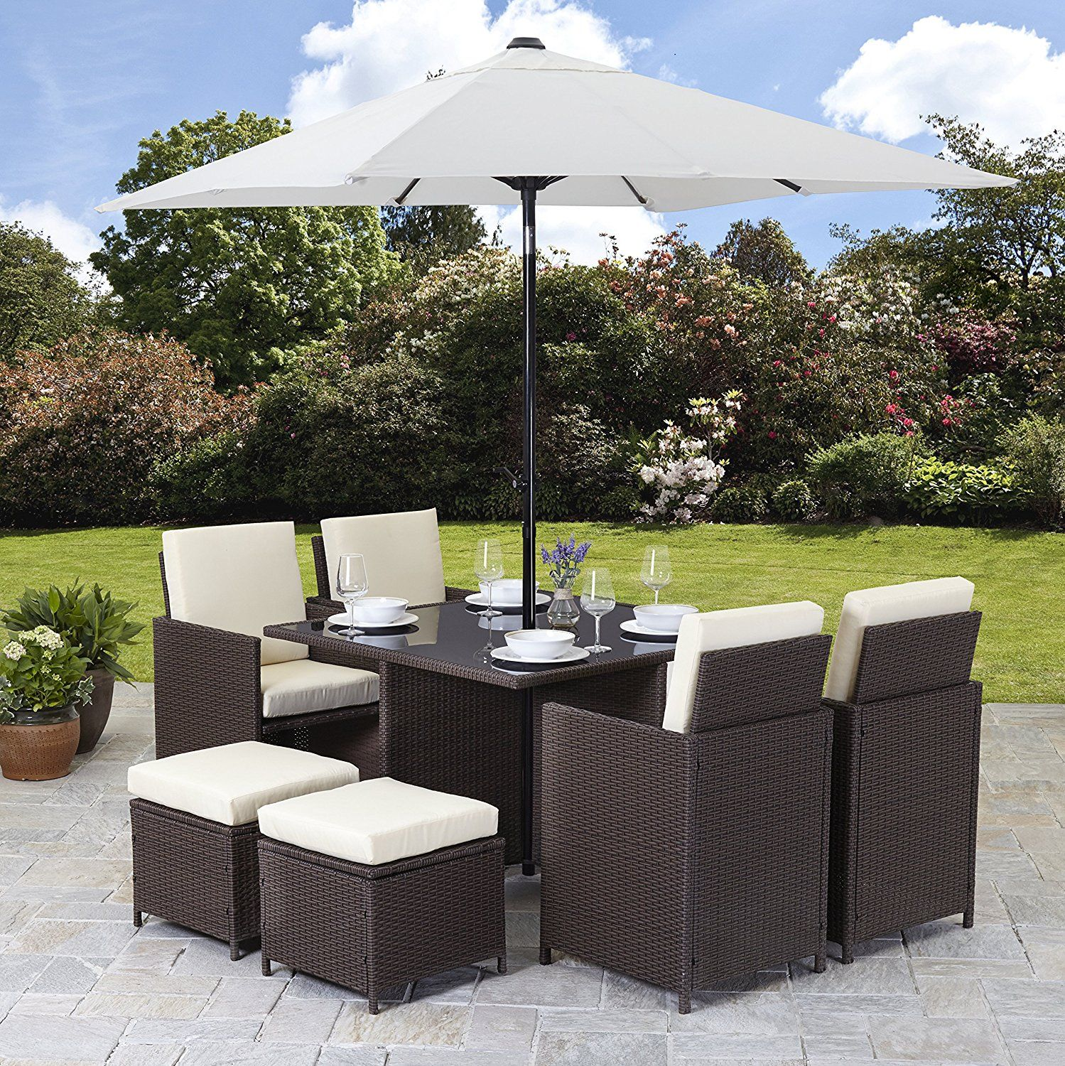Rattan Cube Garden Furniture Set 8 seater outdoor wicker 9pcs with ...
