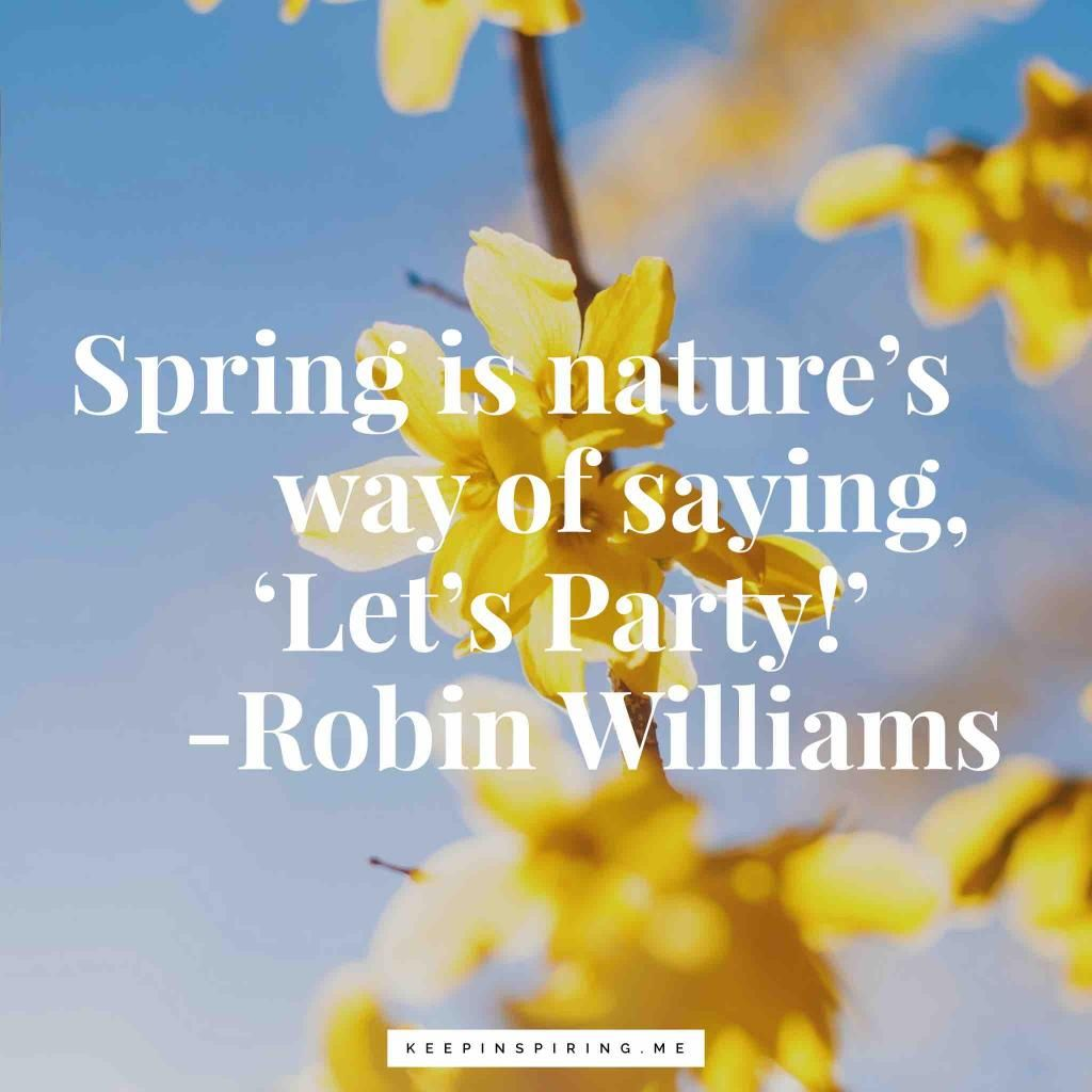 Robin Williams Quote Spring Is Nature S Way Of Saying Let S Party Spring Quotes Robin Williams Quotes Spring