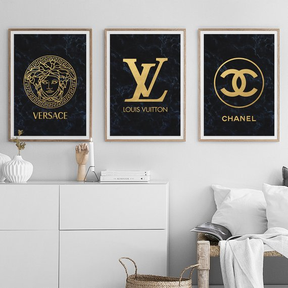 Fashion Wall Art Set Of 3 Prints Chanel Decor Versace Poster Etsy Wall Art Sets Fashion Wall Art Chanel Art Print
