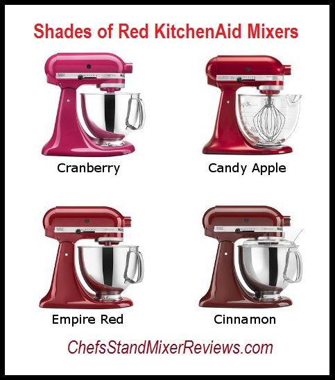 Compare the different shades of red for KitchenAid Mixers Whether