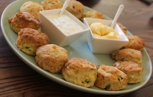 Zucchini, Cheese and Chive scones