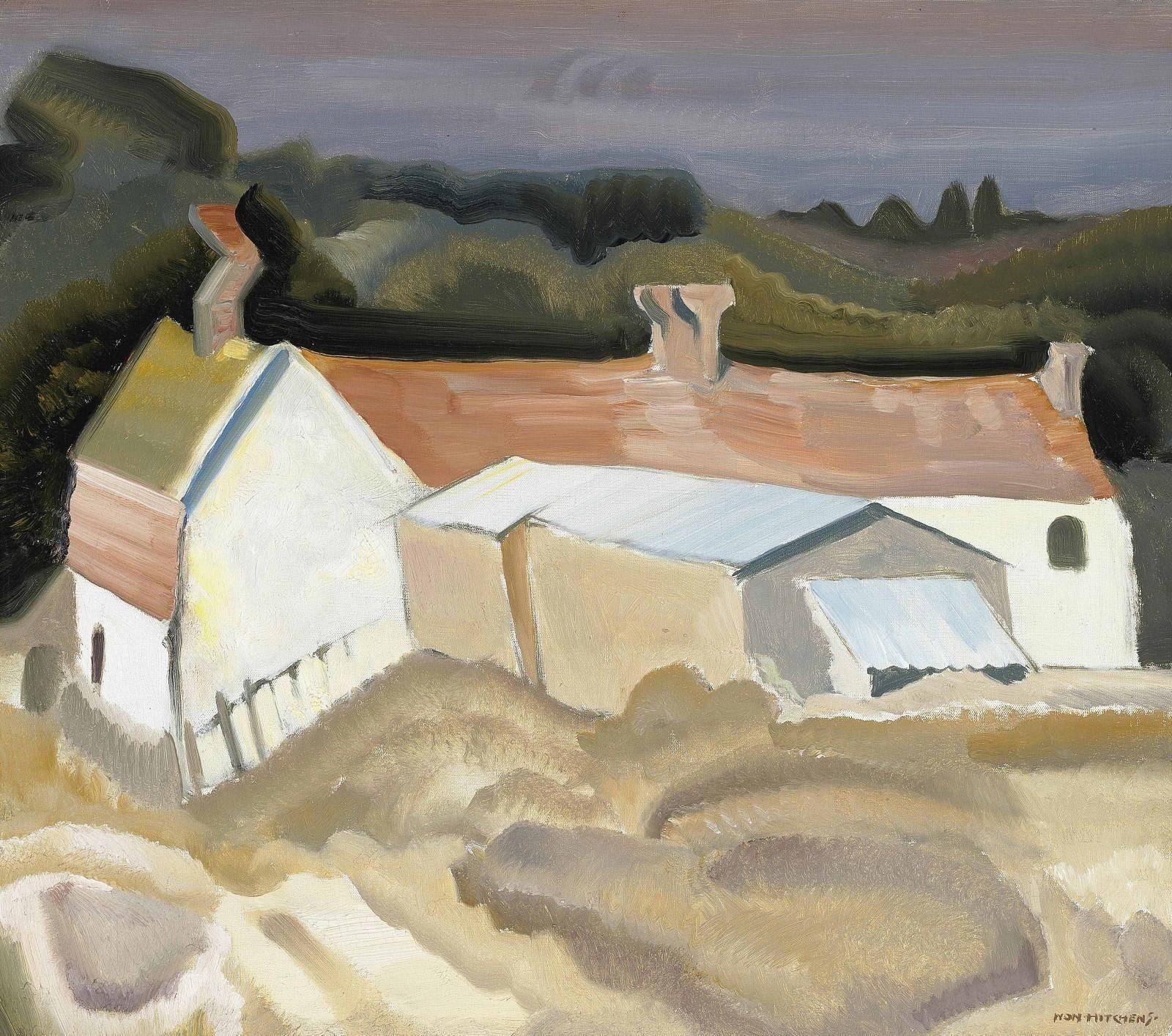Ivon Hitchens (1893-1979) Sussex Cottages 1936 (45,7 x 51 cm)