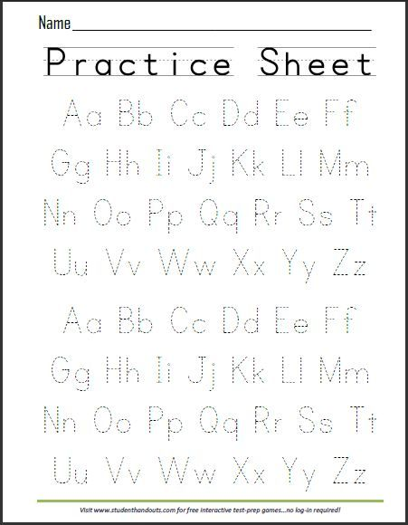 Handwriting Alphabet Worksheets Printable Free