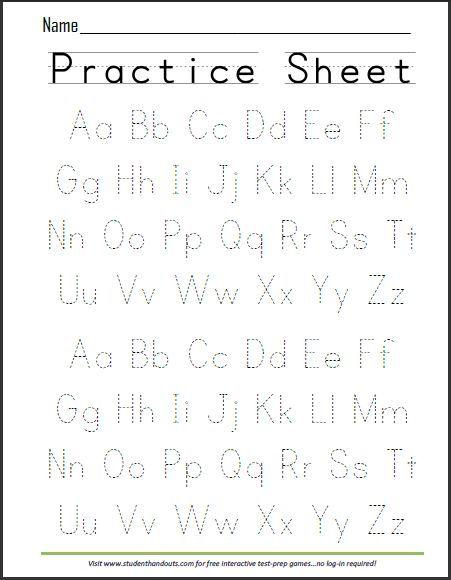 Print ABCs Dashed Handwriting Practice Worksheet