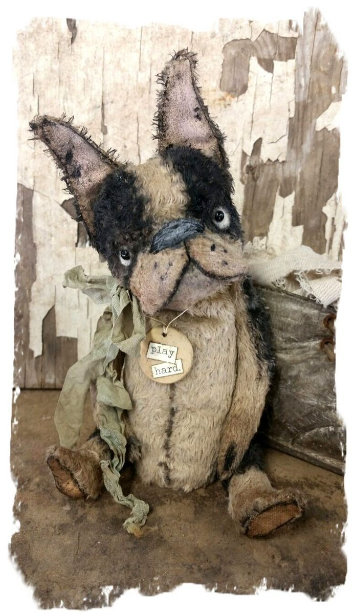 "One of a Kind Approx. 5"" (7"" to tip of ears) - Antique Style hand tinted Boston Terrier Dawg with vintage ribbon & vintage poker chip..."