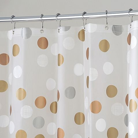 This Fun Yet Neutral Shower Curtain Has Metallic Circles Of Bronze White Silver And Champagne On A Frost Background Itll Add Playful Sophistication To