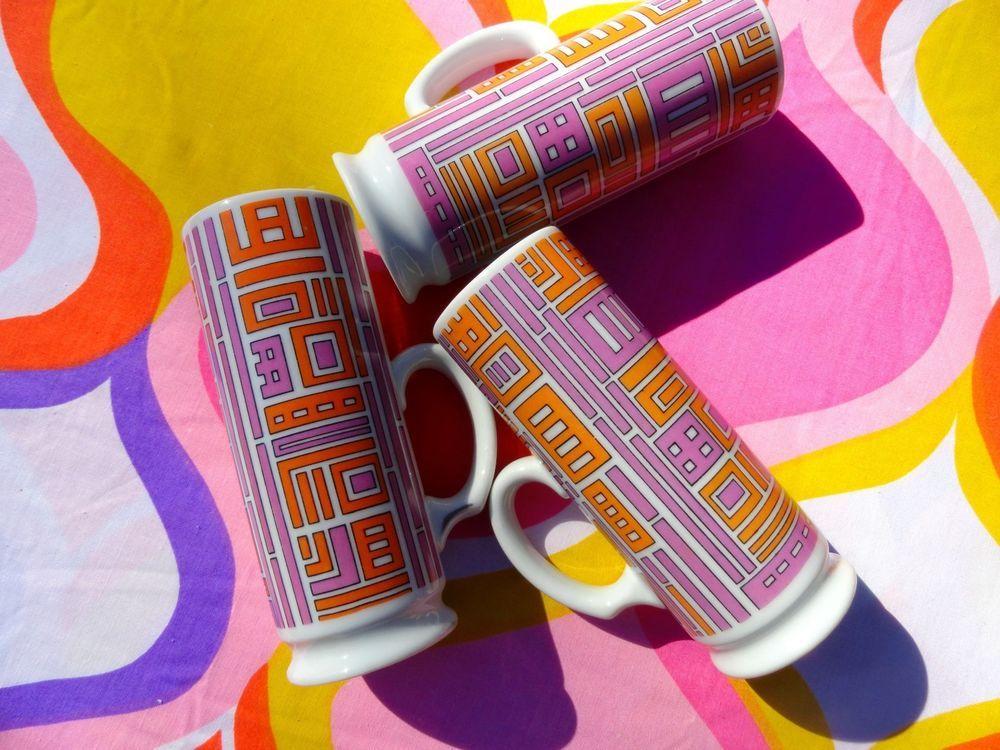 VTG 1960s MID Century Modern HH Japan Holt Howard Orange Retro MOD Groovy Cups 3