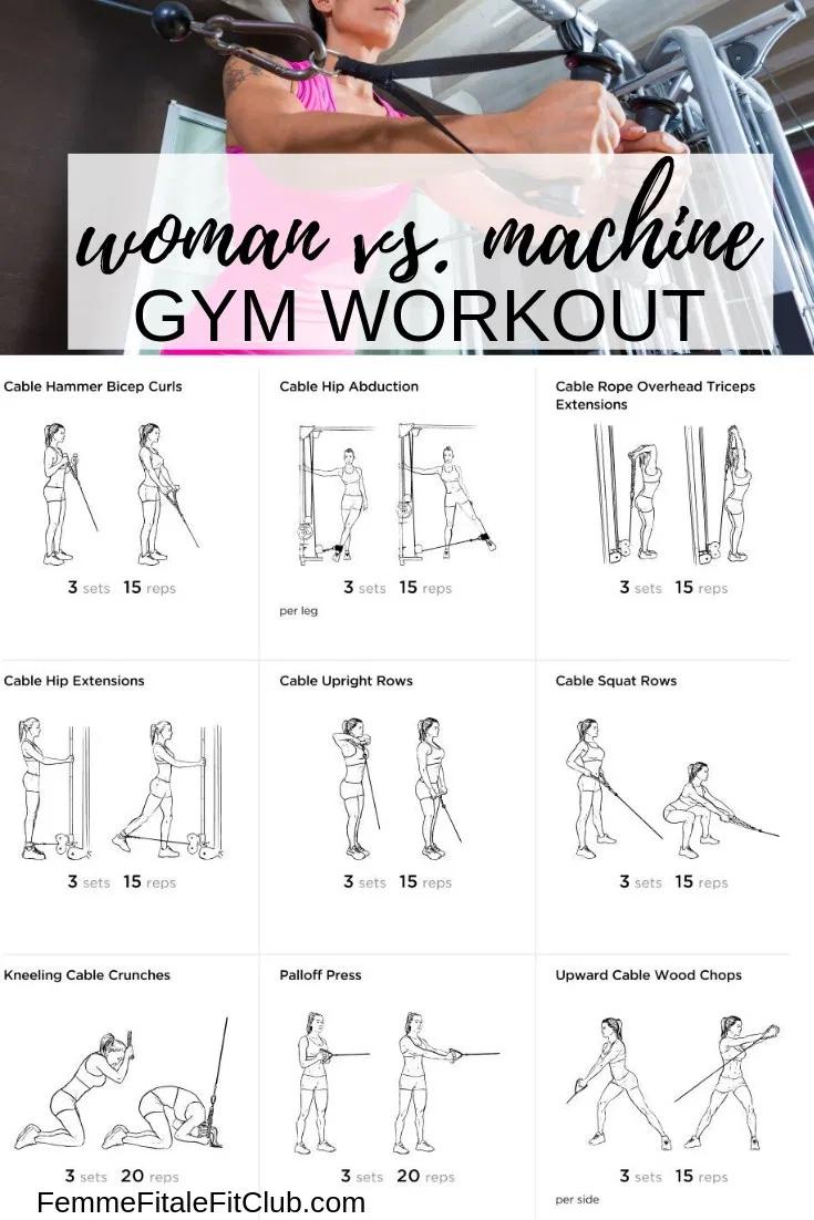 Woman vs. Cable Machine Gym Workout