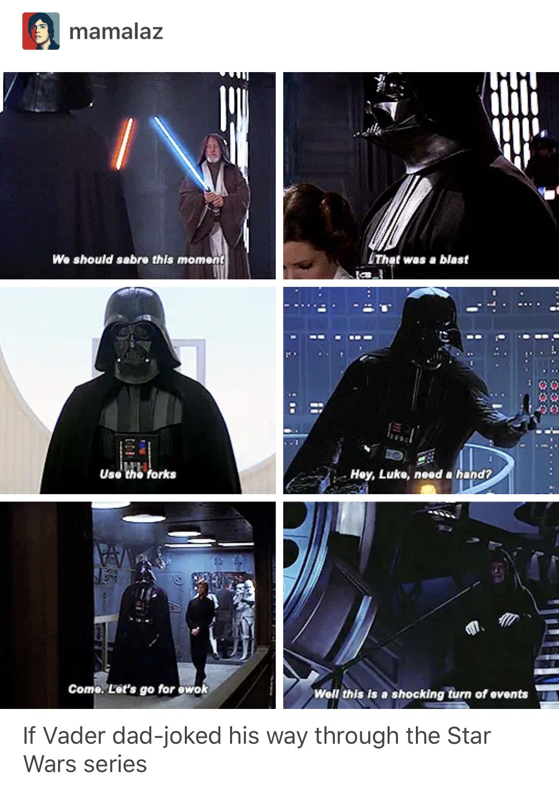 Vader S Dad Jokes With Images Star Wars Humor Star Wars Memes