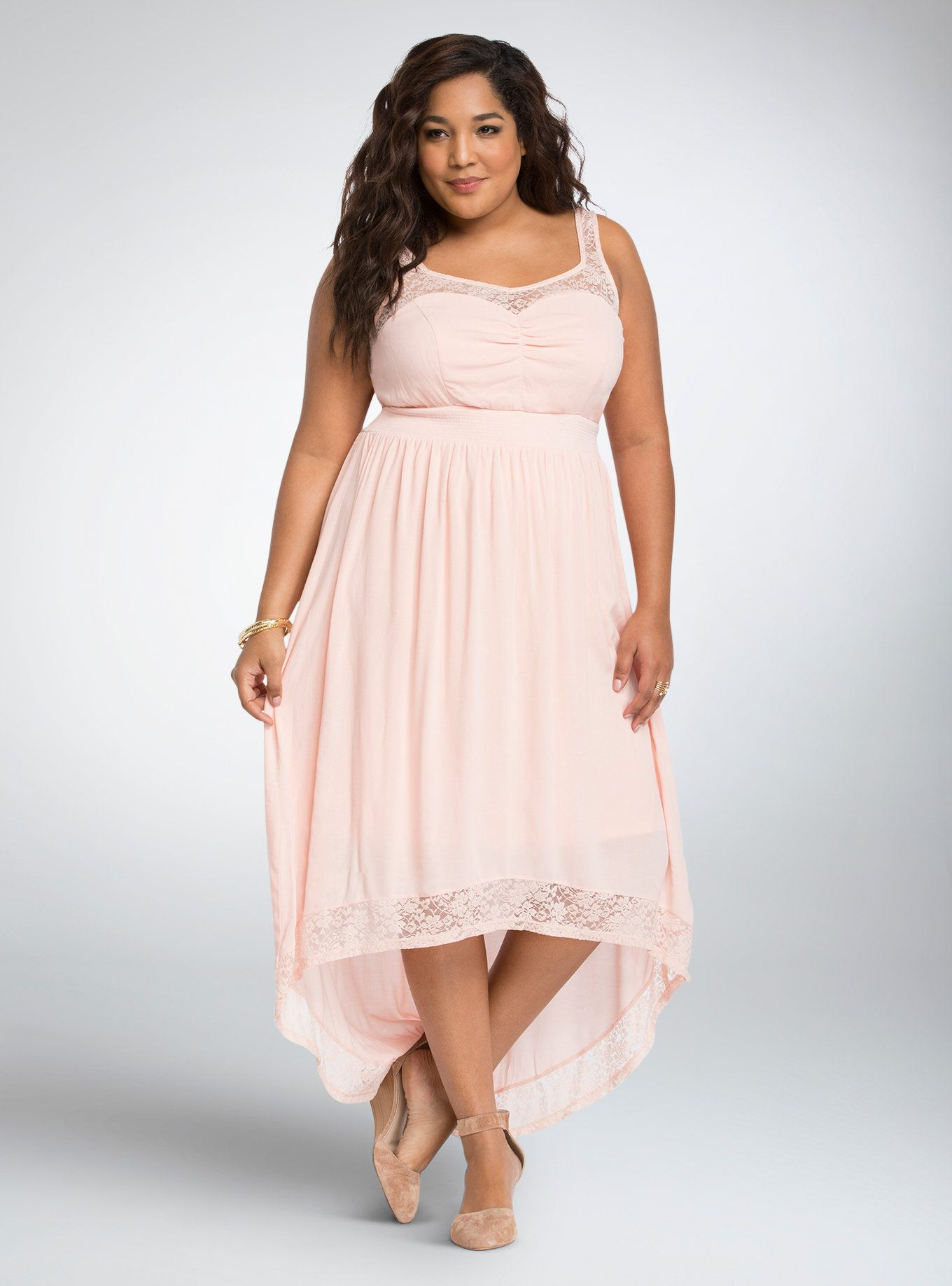 Lace Gauze Hi-Lo Maxi Dress | Lookin\' Fly! | Dresses, Blush pink ...