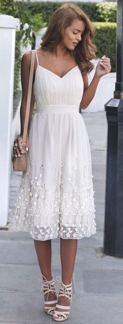 #summer #musthave #outfits | White Lace Sun Dress