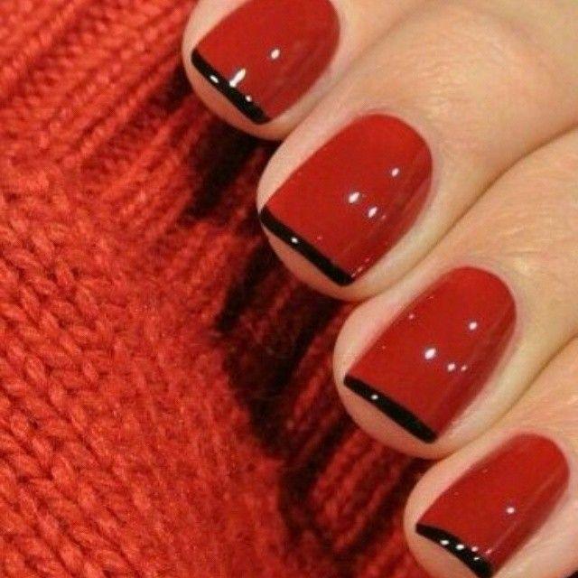 Gabriela Figueira On Instagram Red Nails With A Think Black French Gelish Unas De Gel Con Purpurina Manicura De Unas Unas Gelish
