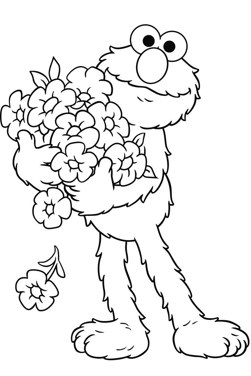 Elmo Bring Roses Coloring Pages For Kids Printable Sesame Street